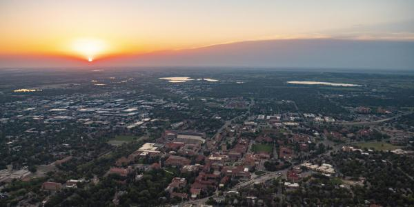 Aerial view of sunrise over Boulder