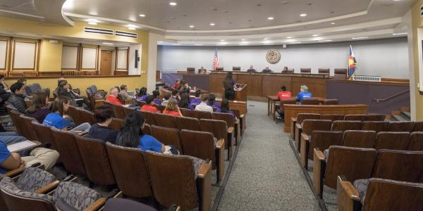 High school students participate in the 2018 Moot Court competition in Wittemyer Courtroom