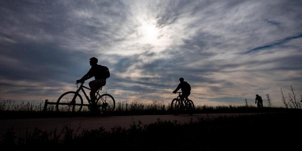 Silhouette of two people biking to work