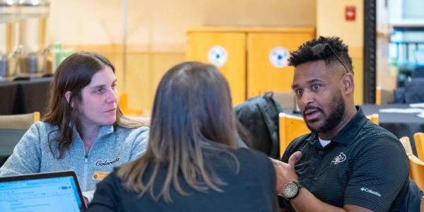 "Faculty members discuss points on the session titled ""Finding the 'Us' in Inclusion: What Do You Need to Be an Inclusive Educator?"" at the CU Boulder 2020 Spring Diversity Summit. (Photo by Glenn Asakawa/University of Colorado)"