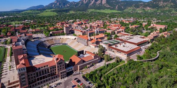 An aerial image of the CU Boulder campus. (Photo by Glenn Asakawa/University of Colorado)