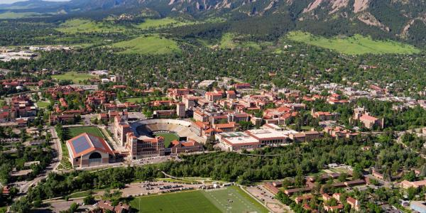 2021 aerials of Boulder and CU Boulder campus. (Photo by Glenn Asakawa/University of Colorado)