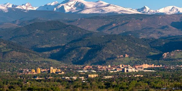 Aerial of the CU Boulder campus and mountains
