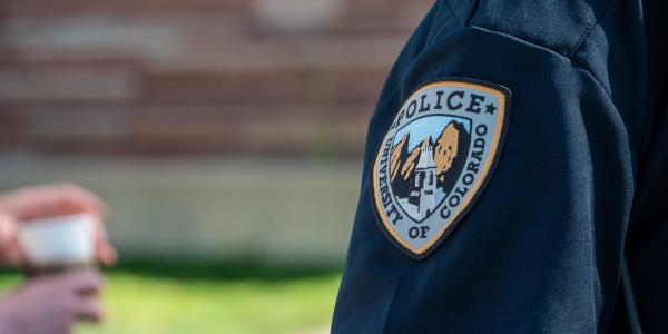 close up of CU Boulder police officer's uniform patch