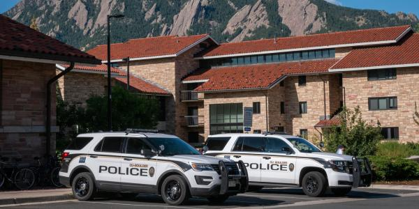 CU Boulder police cars on campus (Photo by Patrick Campbell/University of Colorado)