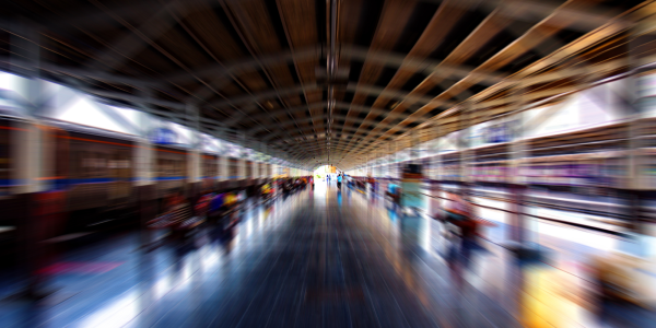 Stock image of a train station with a zoomed in focus