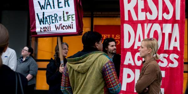 Dakota Access Pipeline protestors in front of Wells Fargo