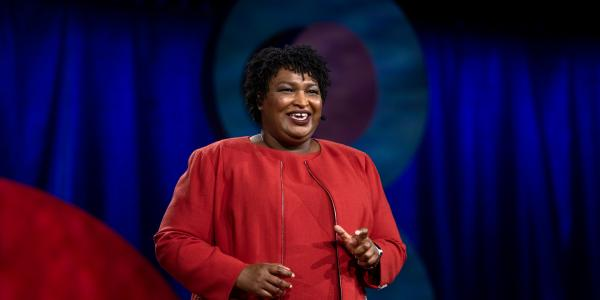 Stacey Abrams giving a TED Talk in 2018