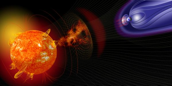 An artist's depiction of space weather.