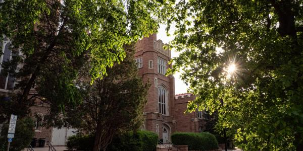 Sun filters through trees by Macky Auditorium on campus in June 2020