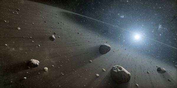 Artist's depiction of an asteroid belt