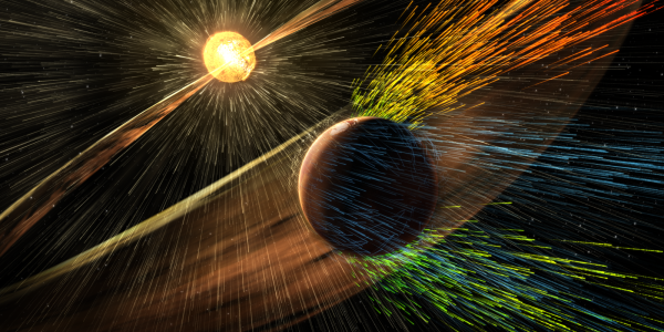 An illustration of Mars' atmosphere escaping into space during a solar storm.