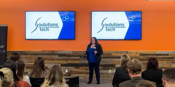 Soulutions, one of the six finalists for the upcoming NVC championships, makes a presentation
