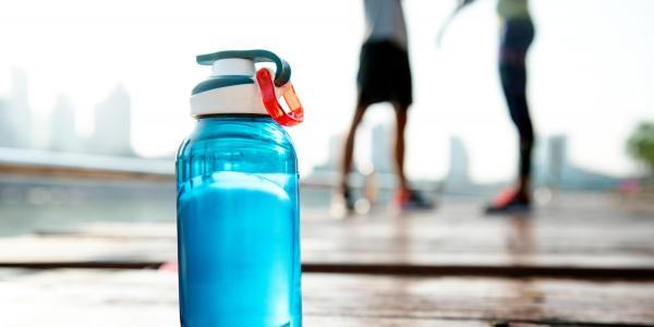 Blue refillable water bottle