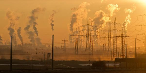 Several factories with smoke pollution