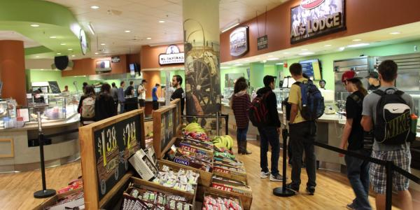 Students line up in Alferd Packer Grill