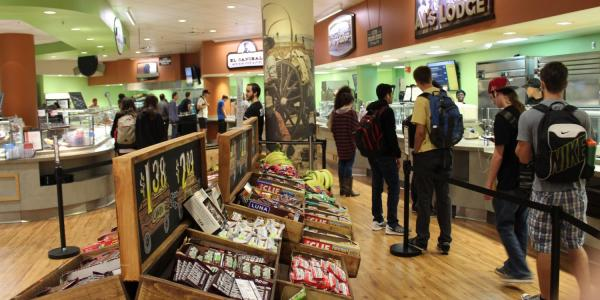 Students line up outside Alferd Packer Grill
