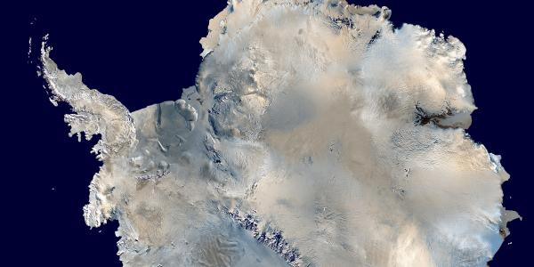 An aerial view of Antarctica, the South Pole.