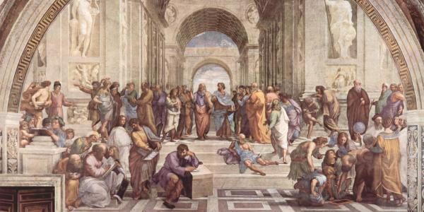 Sistine Chapel painting of Aristotle and others philosophers