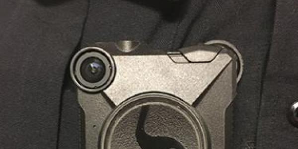 New body-worn camera worn by CU Boulder Police officers.