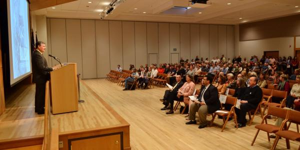 Speaking at the UMC Glenn Miller Ballroomf
