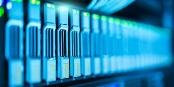 Close-up of a server rack