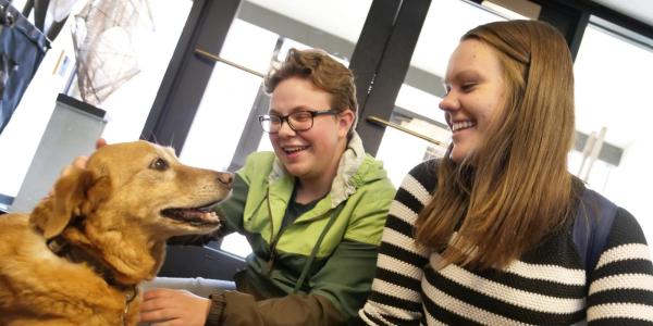 Students pet therapy dog in the Music Library