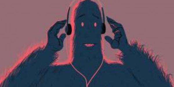 Graphic of big foot with headphones