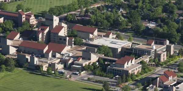 An aerial view of the CU Boulder campus and the Engineering Center