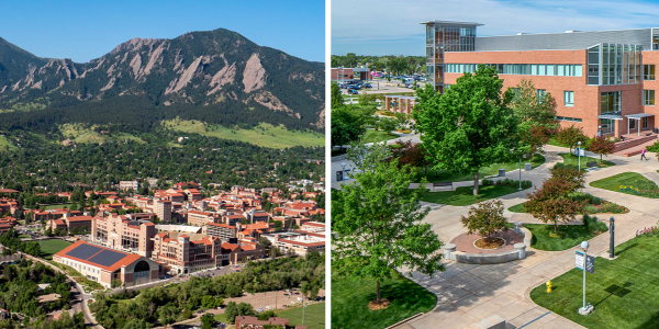 CU Boulder, left, and CU Anschutz Medical Campus