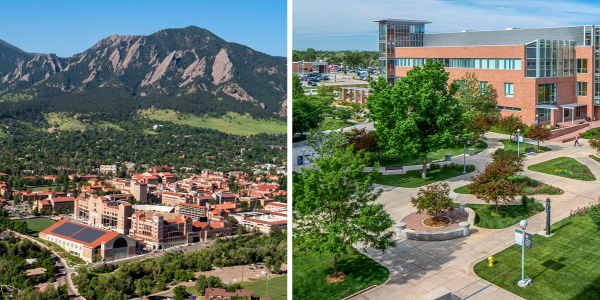A collage of CU Boulder and CU Anschutz Medical Campus