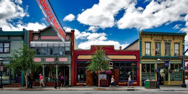 View of storefronts in Breckenridge, Colorado.