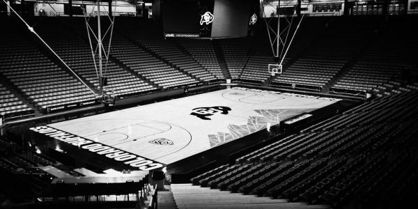 Empty CU Boulder basketball court