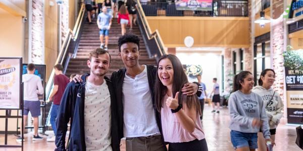 Students in the UMC atrium