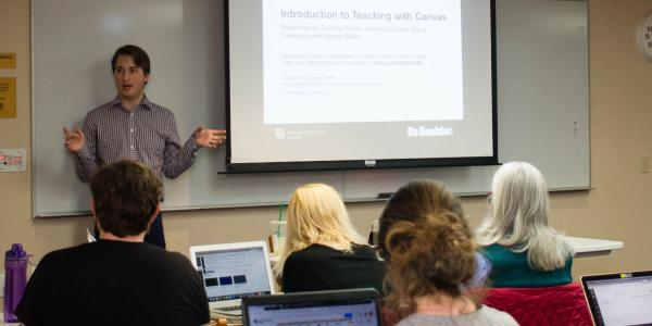Instructor leads Canvas training