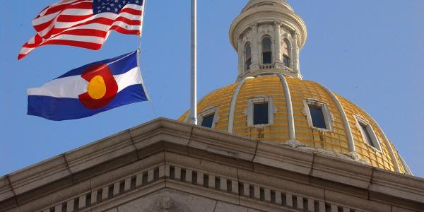 Shot of Colorado capitol building.