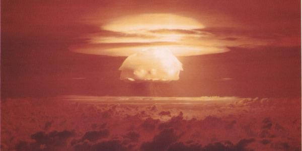Mushroom cloud expands over ocean