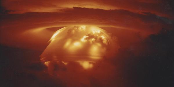 A mushroom cloud erupts during the Castle Bravo nuclear weapon test at Bikini Atoll in 1954.