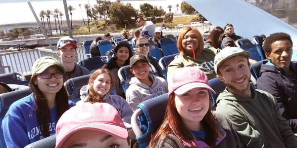 Students ride ferry to Catalina Island where they will work on environmental conservation