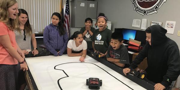 Students race robot