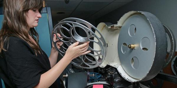 Student working with film