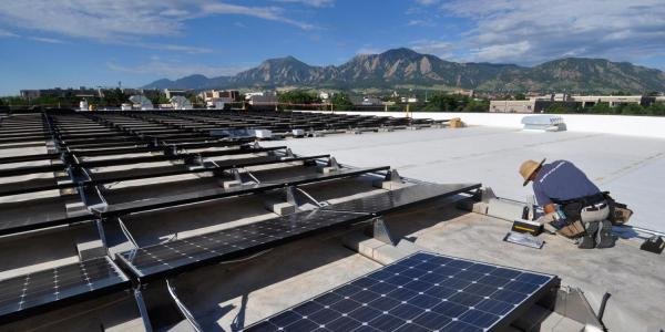 solar panels on campus rooftop