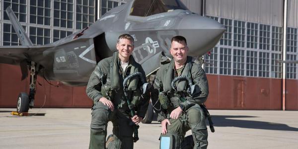 "F-35 pilots Tucker ""Cinco"" Hamilton and Aaron ""Amber"" Frey"