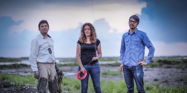 """Scott Eustis (left), Shannon Dosemagen and Jeff Warren were part of the Public Lab response to the """"Deepwater Horizon"""" disaster, using low-cost cameras, kites and balloons to document the BP oil spill."""