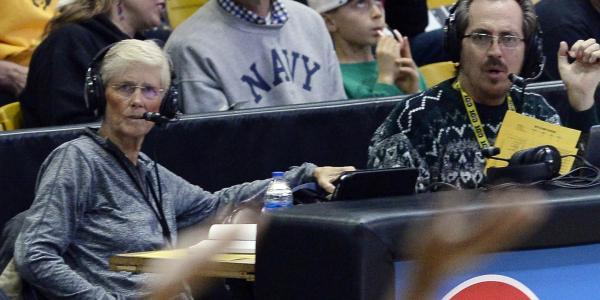 Carol Callan, left, doing commentary at a Colorado women's basketball game