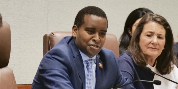Rep. Joe Neguse, seen during a congressional panel meeting at CU Boulder