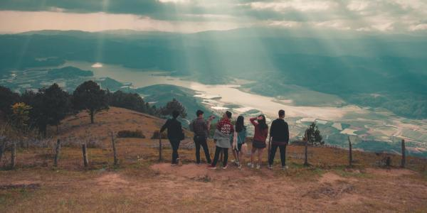 Group of friends at top of mountain