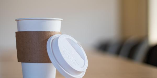 Coffee cup in a board room