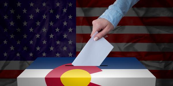 Ballot box with Colorado and U.S. flag stock image