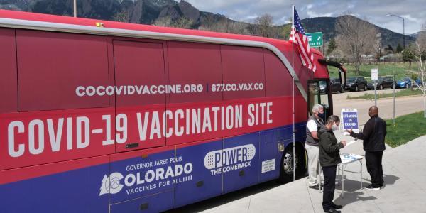 Mobile COVID-19 vaccine clinic bus.